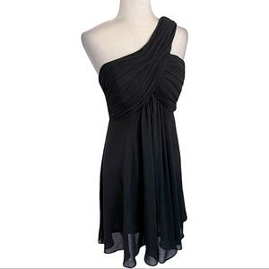 Ever Pretty Pleated Bodice One Shoulder Black Chiffon Cocktail Dress Size 12